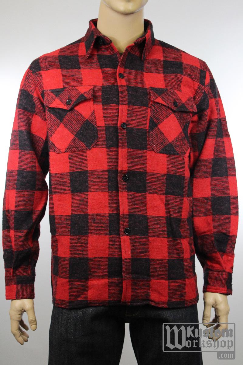 Chemise de bucherons carreaux noir et rouge kustom work shop kustom shop - Chemise rouge et noir homme ...