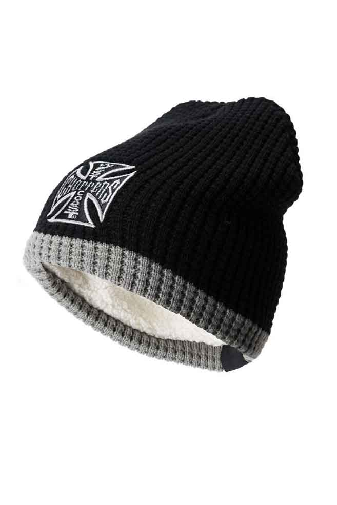 Bonnet West Coast Choppers Knitted cross Beanie gris