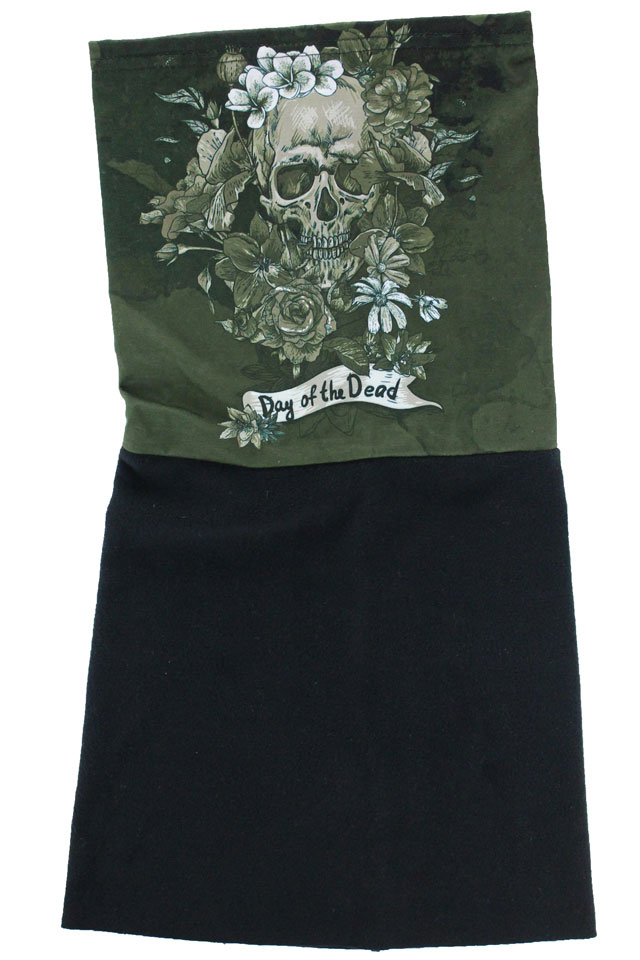Tour de cou Belle Lurette et Cie Day of the dead khaki polaire