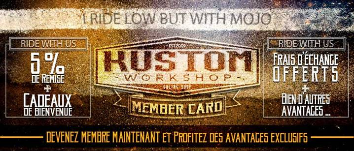5% de remise en devenant membre du kustom workshop crew