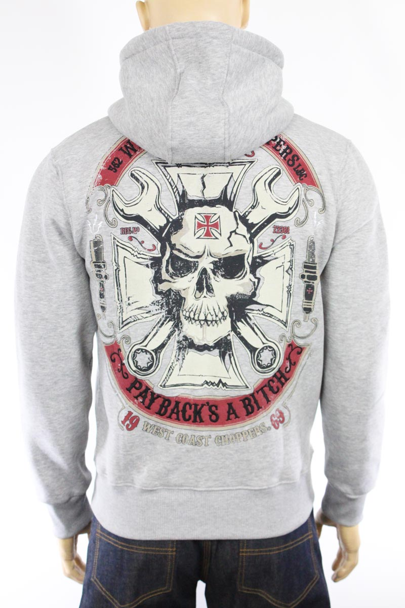 Hoodie zippé West Coast Choppers Mechanic gris
