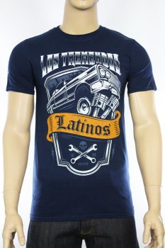 T-shirt Los Tremendos Latinos Jumpin'Carro bleu