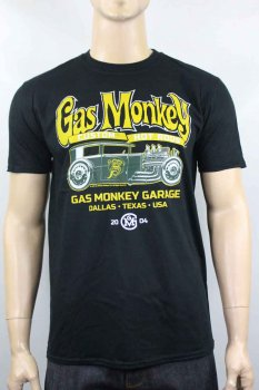 T-shirt Gas Monkey Garage Custom Green Hot rod