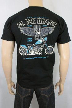 T-shirt Black heart blue chopper