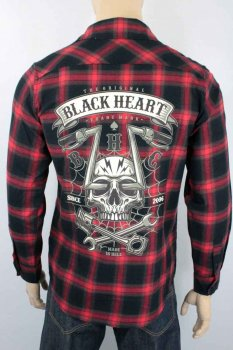 chemise Black heart chopper skull