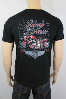 T-shirt Black heart red baron chopper