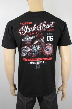 T-shirt Black heart red chop