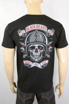T-shirt Black heart ride or die