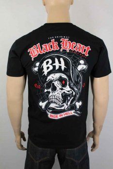 T-shirt Black heart skull and bones