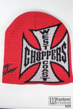 Bonnet West Coast Choppers réversible noir et rouge