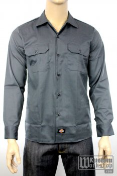 Workshirt Dickies slim manches longues grise