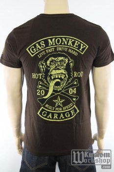 T-shirt Gas Monkey Garage Patch brun