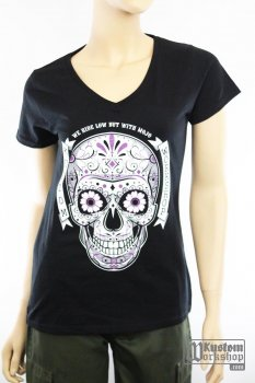 T-shirt Kustom Workshop Mexican Skull femme