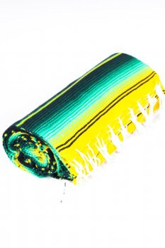 Couverture mexicaine Serape diamant verte
