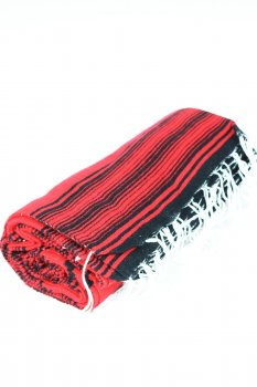 Couverture mexicaine motif indien rouge